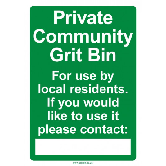 Community Grit Bin Sign - A3