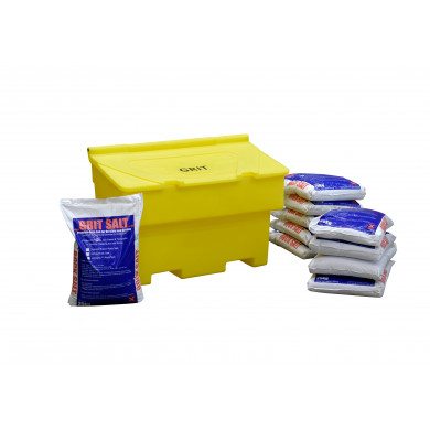 200 Litre Yellow Grit Bin - Includes 10 Bags of Winter Salt