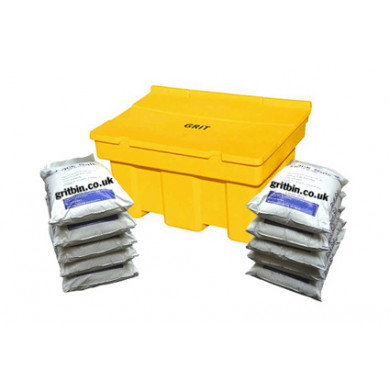 350 Litre Yellow Grit Bin - Includes 10 Bags of Winter Salt