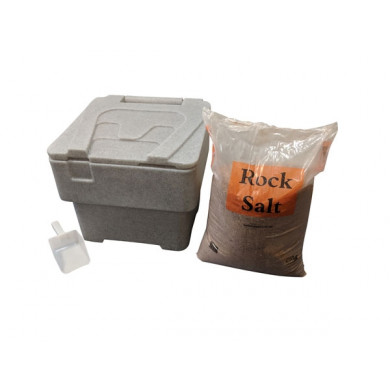 60 litre Household Bin 25kg Salt and Scoop - Stone