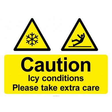 Caution Icy Conditions Sign - 450mm x 600mm