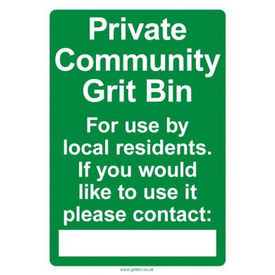 Community Grit Bin Sign - A3 Sign